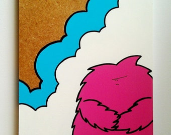 Grumpy Pink Chep Monster - Original Wooden Panel Painting