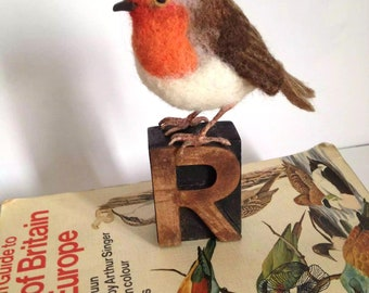Needle felted bird sculpture robin