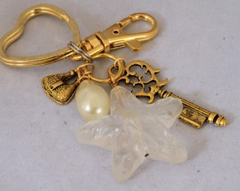 Large Clear Acrylic Star Dangling Charm Gold Key Chain, Star Key Ring, Cascading Charm Key Chain, Purse Charms