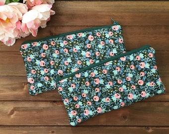 Hunter Green Floral Zipper Pouch- Rifle Paper Co Zipper Pouch- Make up Bag- Zipper Pouch- Pencil Case- Floral pencil case