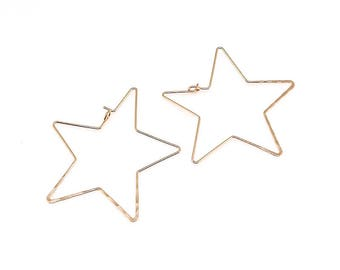 NP-1930 Rose Gold, 45mm, Hammered, Star, Earring Hooks, Ear wires, Hoop Earrings, 2pcs