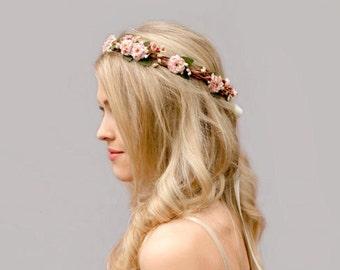Pink Bridal Flower Crown, Pink Flower Girl Flower Crown, Dusty Pink, Bush Pink, Hair Wreath, Flower Girl Headpiece, Bridal Headpiece