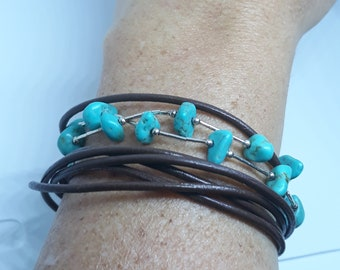 Leather cord with silver and natural blue turquoises