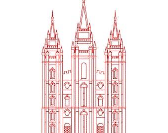 Salt Lake City LDS Temple, Redwork Embroidery Design, digital instant download file.