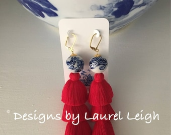 RED Layered Tassel Earrings  | stacked, Chinoiserie, Statement Earrings, long, gold, dangle, blue and white