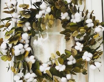 Cottage Farmhouse Cotton Stem & Sage Green Eucalyptus Leaves Wreath