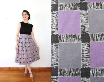 1940s Skirt / 40s Skirt / 1940s Homesewn WW2 Era Basketweave Checked Birch Tree Wood Novelty Print High Waisted Lavender and Gray Midi Skirt