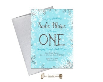 Snowflake Birthday Invitation Winter Blue Silver Glitter Printable Digital File or Prints with Free Shipping Snow Winter Wonderland