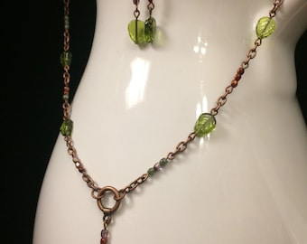 Falling Leaves Beaded Chain Necklace and Earrings