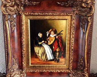 Sale Antique Style Oil Painting ca.17th C. Dutch Man & Wife Playing Music European Genre Art Signed Framed