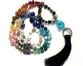 Long 108 Bead Knotted 7 Chakra Mala Necklace or Wrap Bracelet~Balancing ~ yoga~ Meditation