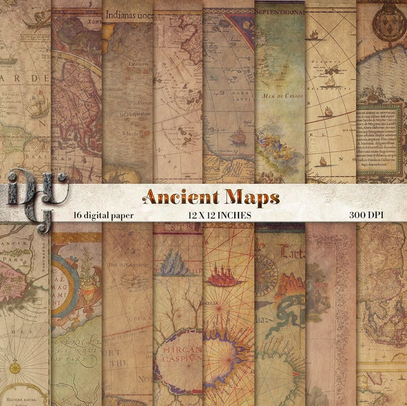 Antique maps digital paper ancient maps 16 vintage maps world map antique maps digital paper ancient maps 16 vintage maps world map scrapbook paper pack map of world old paper textures instant download 199 from gumiabroncs Image collections