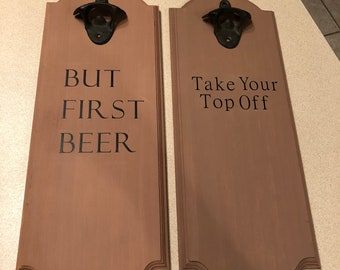 Wooden bottle openers