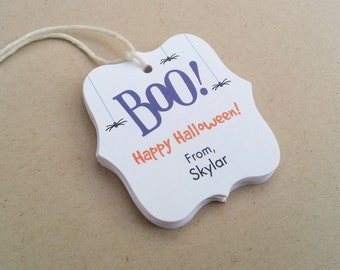 Halloween BOO tags - Kids Halloween tags - Personalized gift tags - Halloween favor tags - Customizable Trick or Treat tags (TH21)
