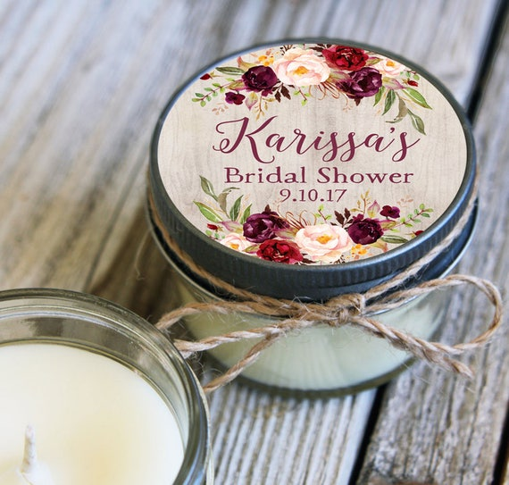 12 - 4 oz Soy Candle Bridal Shower Favors - Floral Label - Floral Bridal Shower Favors - Marsala Bridal Shower Favor - Mason Jar Favor
