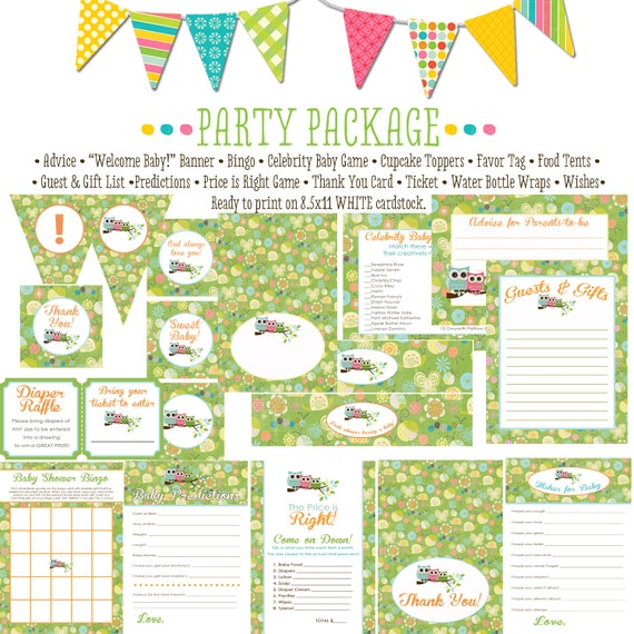 Surprise gender reveal owl baby shower party package shower with love he or she gender reveal party game banner wishes 1378 Katiedid Designs