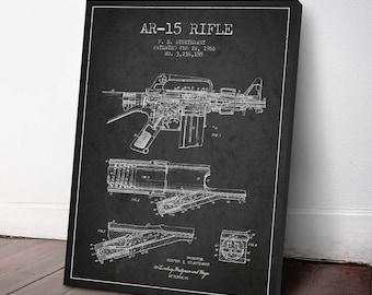 1966 AR15 Machine Gun Patent Canvas Print, Machine Gun Print, Machine Gun Decor, Patent Art, Wall Art, Home Decor, Gift Idea, WE09C