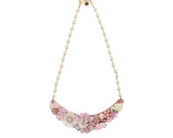 Pink Floral Collage Necklace, Field of Flowers Collage Necklace, Collage Bib Necklace, Floral Bib Necklace