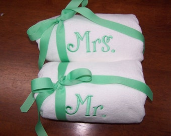Mr. and Mrs. beach towel set solid stripe polka dot embroidered monogrammed