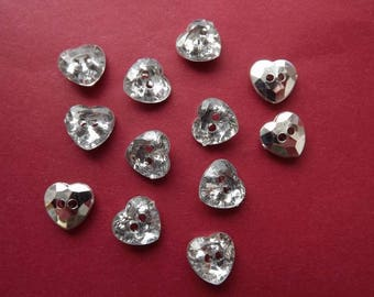 12 heart acrylic rhinestone buttons