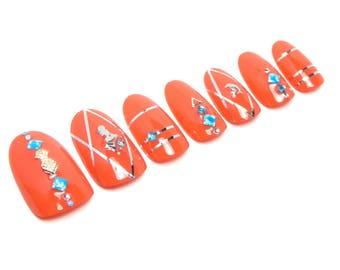 Sun Kissed Jewelry Nails / Fake nails, glue on nails, press on nails, nail art, gift women, wedding, mermaid, orange, travel, tropic, beach