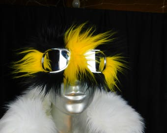 Yellow and Black Bumble Bee Furry Monster Dust Burning Man Goggles - Furry Aviator Goggles - Fur Motorcycle Goggles - Honey Bee Goggles