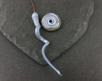 1 handmade lampwork glass headpin, and disc bead