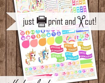 Unicorn Planner Stickers, Printable Weekly Planner Sticker Kit, Pdf, Vertical Box