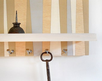 GEOMETRIC WALL SHELF: Small Wall Mount Geometric Design with Key Hooks and Shelf for Home Office and Cottage Decor