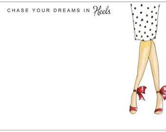Chase Your Dreams In Heels Polka Dots | Fashion | Style  | Notecards | Stationery | Allie Nicole