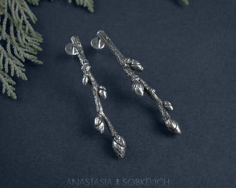 Branch earrings, sterling silver twig, botanical earrings, silver woodland earrings, forest jewelry, tree branch jewelry, nature studs
