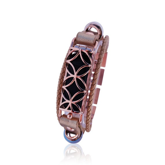 Bracelet Fusion 2 - Rose Gold - made from stainless steel and leather