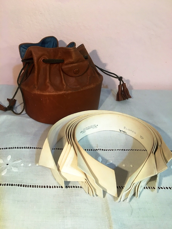 Edwardian Leather Collar Holder and 7 Assorted Collars