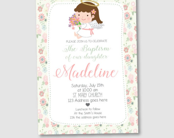 Girl Baptism Invitation, Christening Invitations, DIGITAL personalized Invitation