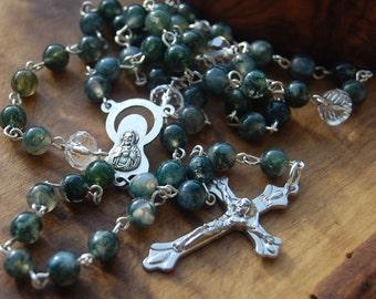 Gemstone Rosary. Moss Agate. Catholic Baptism Gift.Catholic Jewellery. Protection. Godfather Gift. Rosary Necklace. Gift For Father. Rosary.
