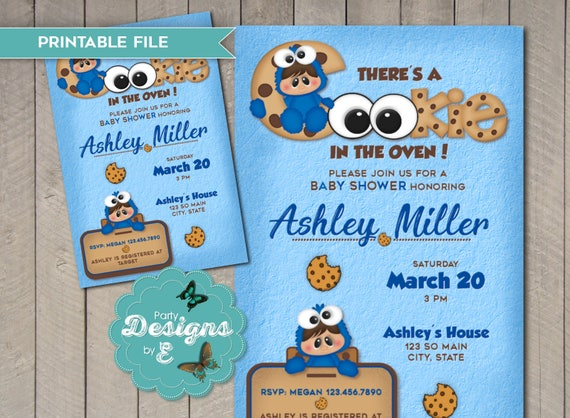 Cookie Monster Baby Shower Invitation U2013 There Is A Cookie In The Oven  Invitation U2013 Sesame Street Baby Shower Invitation