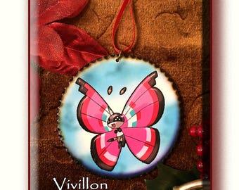 Pretty VIVILLON Pokemon Ornament, Decoupage 3 inch Wooden Disc, with Wood burned edges.