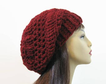 Red Crochet Slouchy Cap Maroon Hat Dark Red Crochet Cap  Maroon Slouchy Beret Dark Red slouchy Tam  slouch Knit red Beanie Crochet Red Cap