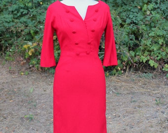 1950s Red Wool Wiggle Dress // Extra Small or Small