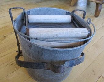 Mid Century Eagle Galvanized Mop Bucket wooden rollers Photo or Set prop. Primitive Rustic MCM decor or prop roller works
