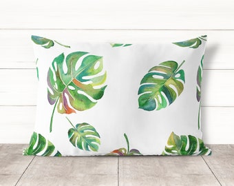Monstera Pillow Cover-Watercolor Botanical Pillowcase-Botanical Leaves Pillow covers-Home Decor-Pillow cases-Pillowcases-Pillow covers 30x20