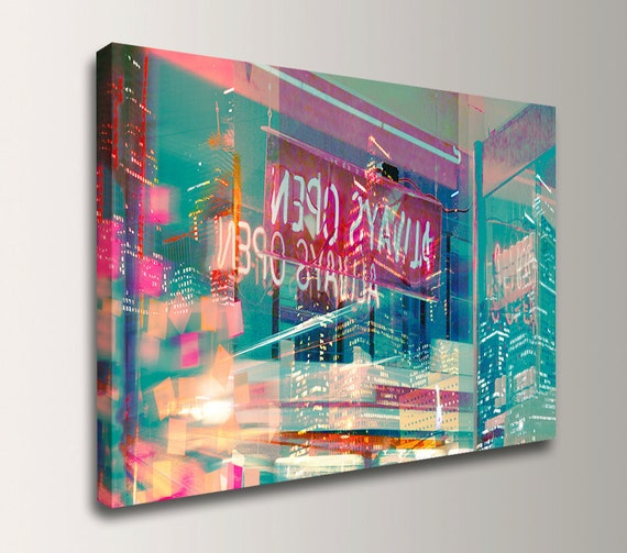 "Teal Wall Decor - Mixed Media Canvas Print - Digital Photo Collage - Modern Wall Art - ""Always Open"""