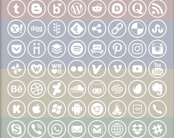 Social Media Icons, 72 logo designs, white ringed on alpha transparency, vector & bitmap images