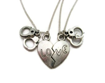Split Heart Necklace  Handcuff Necklace Set Lovers Necklace Set Love Necklace Set Handcuff Jewlery Hand Cuff Necklace Set