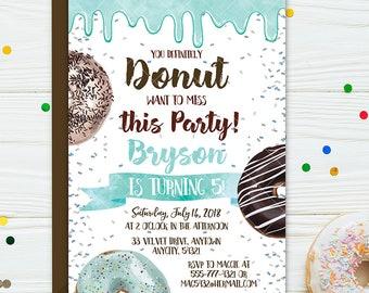Donuts Birthday Invitation, Blue Donuts Birthday Party Invite, Donut Miss this Party Boy Birthday Printable Invitation