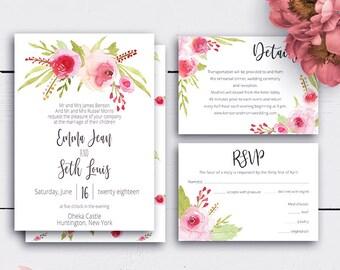 Customized Floral Wedding Set, Roses Wedding Invitation, Printable Download, Wedding Card, Romantic Invitations, RSVP Card, Printable Invite