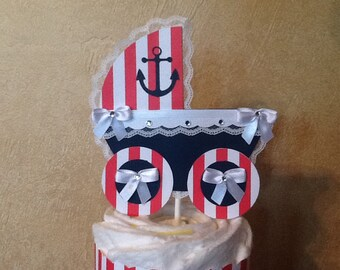 Nautical cake topper/Nautical Baby Shower cake topper/Boy Baby shower cake topper