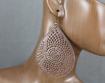 Large antiqued Copper Filigree Earrings Boho Chic Moroccan Medallion Bohemian Filigree Big Dangle Earrings