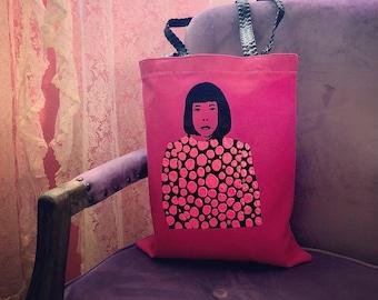 Radical Woman Yayoi Kusama Stencil Tote Bag Hand Painted Polka Dots