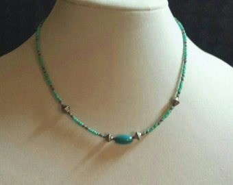 FREE SHIPPING.Single strand turquoise, red and silver necklace